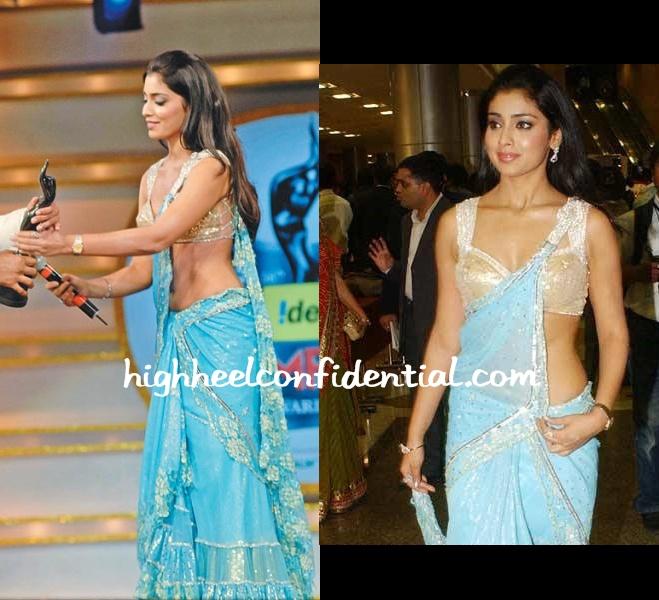 shriya-saran-56th-filmfare-awards-blue-sari