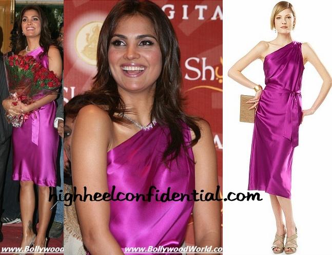 lara-dutta-mmtc-festival-of-gold-pink-banana-republic-dress