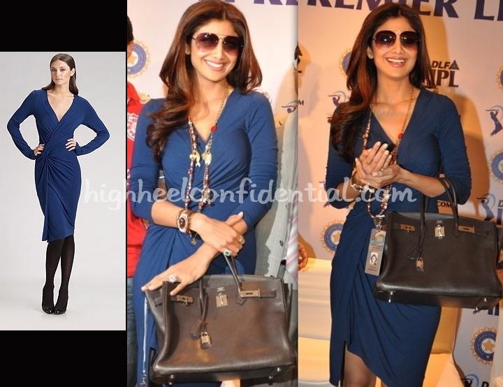 shilpa-shetty-ipl-auction-donna-karan-jersey-knot-dress