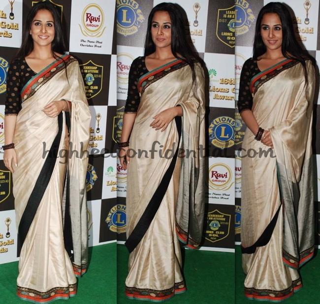 vidya-balan-lions-gold-awards-cream-sari