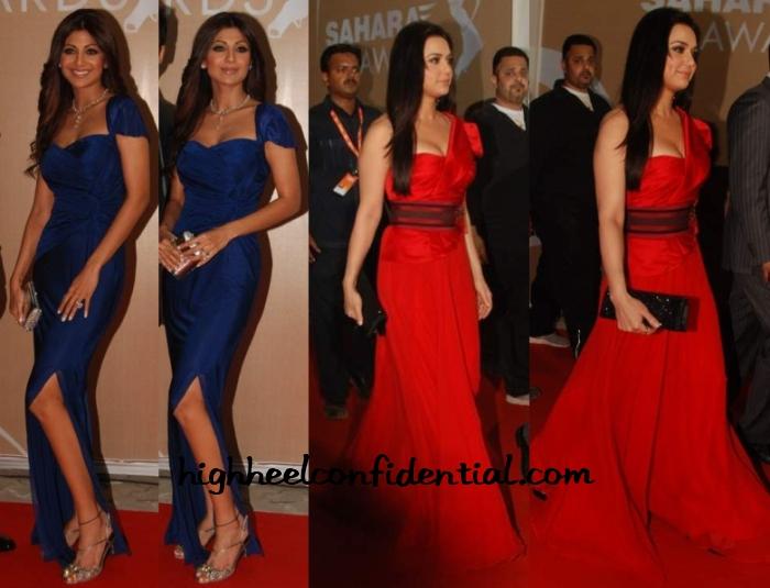 shilpa-shetty-preity-zinta-ipl-awards-gowns