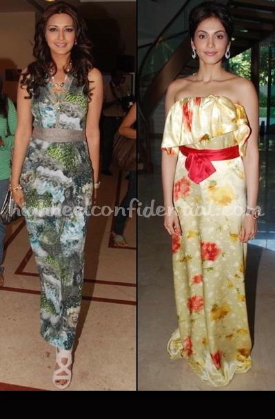 sonali-bendre-isha-koppikar-printed-maxi-dresses