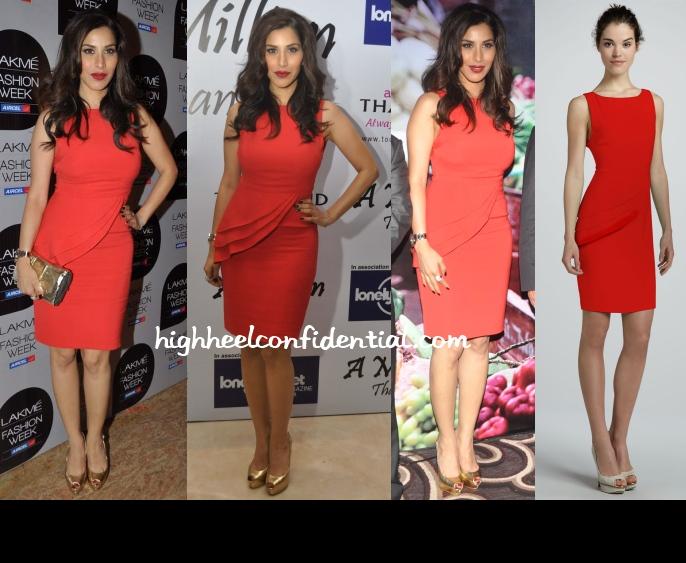 sophie-choudry-alice-olivia-lfw-2013-red-peplum-dress