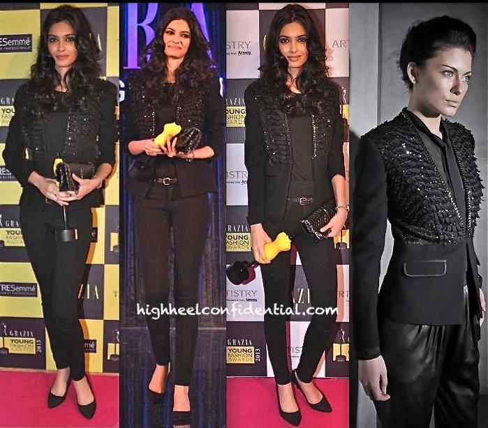 grazia young fashion awards 2013-diana penty-rahul khanna rohit gandhi