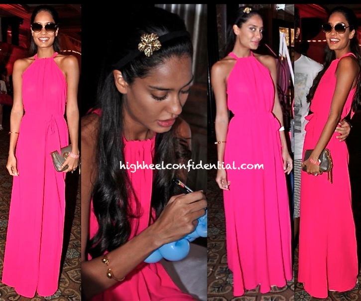 lisa haydon at elle carnival for a cause in deme pink maxi dress