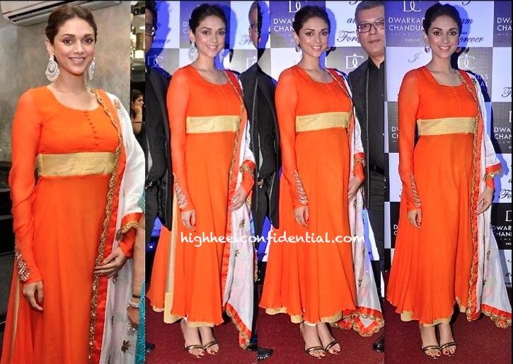 Aditi Rao Hydari In Priya Awasthy At Dwarkadas Chandumal Jewelry Store Launch