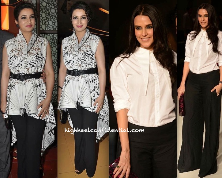 Neha Dhupia In DRVV At Manish Malhotra LFW A W 2013 Show and Tisca Chopra In Pankaj and Nidhi At 24 Trailer Launch-1