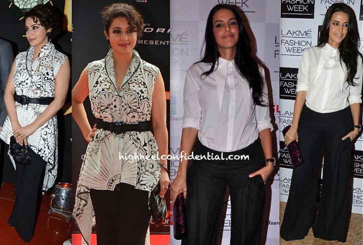 Neha Dhupia In DRVV At Manish Malhotra LFW A W 2013 Show and Tisca Chopra In Pankaj and Nidhi At 24 Trailer Launch-2