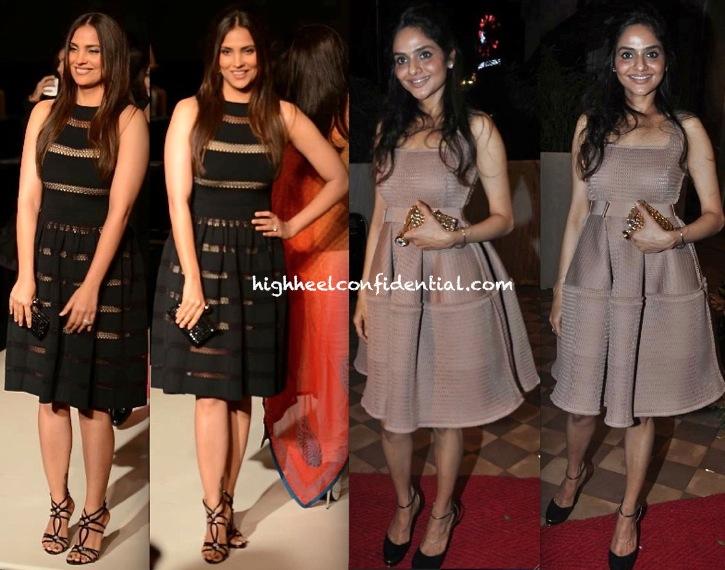 alaia dress-Lara Dutta At Manish Malhotra LFW AW 2013 Show And Madhoo Shah At Queenie Singh Dhody Store Launch-1