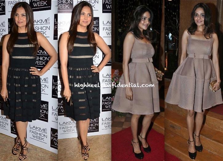 alaia dress-Lara Dutta At Manish Malhotra LFW AW 2013 Show And Madhoo Shah At Queenie Singh Dhody Store Launch