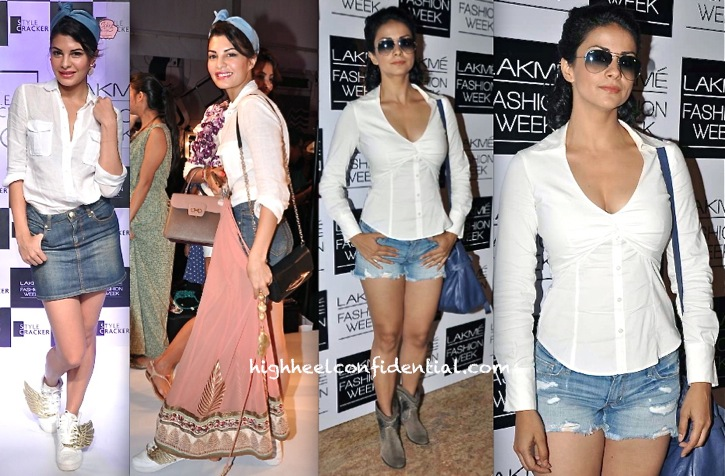 jacqueline fernandez and gul panag at lakme fashion week festive 2013 in denim and white