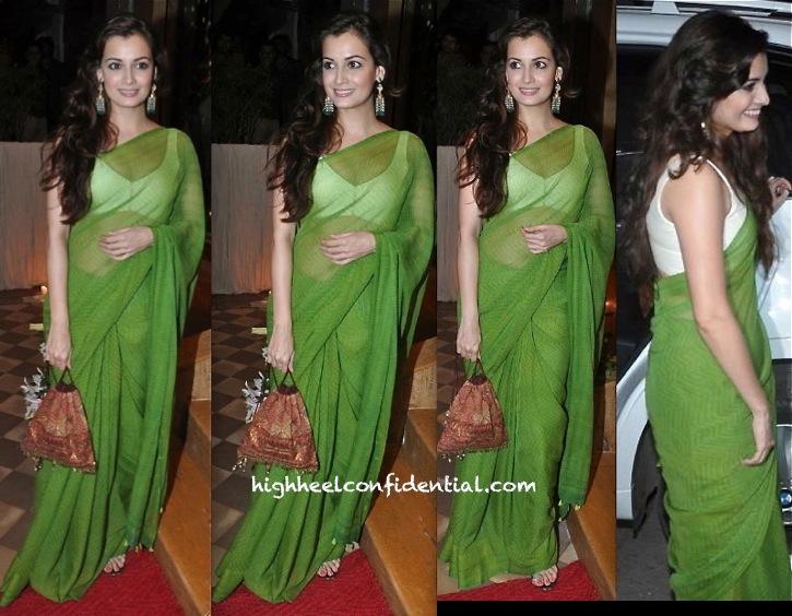 queenie dhody store launch-dia mirza-green sari