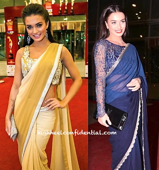 Amy Jackson On Day One In Neeta Lulla And Day Two In Alpana And Neeraj Of SIIMA 2013-2