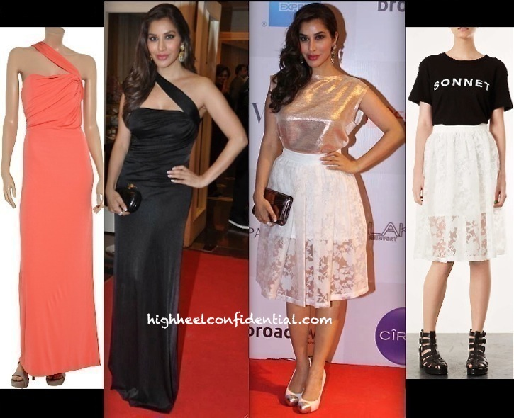 Sophie Choudry In Topshop At Vogue india FNO And In Halston Heritage At The Dhoot Dinner-1