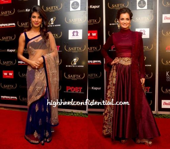 dia-mirza-priyanka-chopra-manish-malhotra-saifta-awards-2013