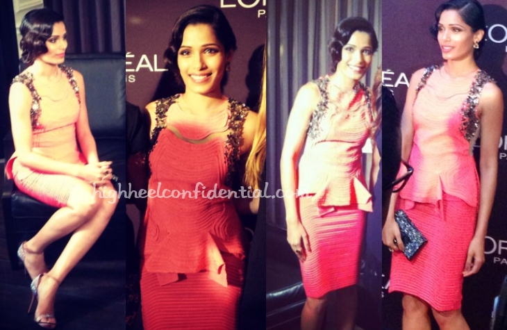 freida-pinto-loreal-red-carpet-hair-tiff-2013-rohit-gandhi-rahul-khanna