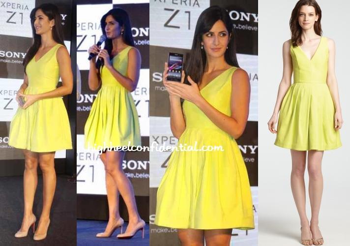 katrina-kaif-sony-xperia-z1-yellow-halston-heritage-dress