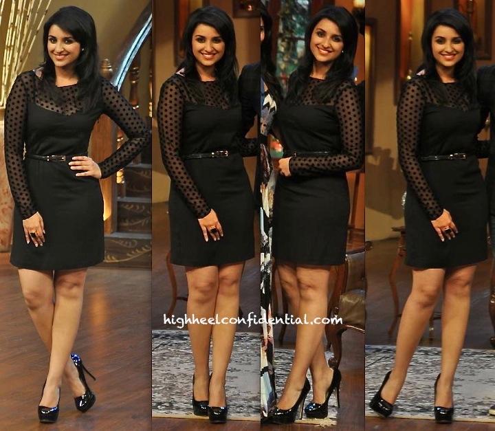 parineeti chopra promotes Shuddh Desi Romance on comedy nights in armani jeans dress-1