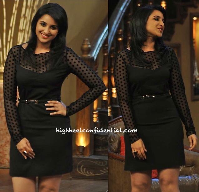 parineeti chopra promotes Shuddh Desi Romance on comedy nights in armani jeans dress-2