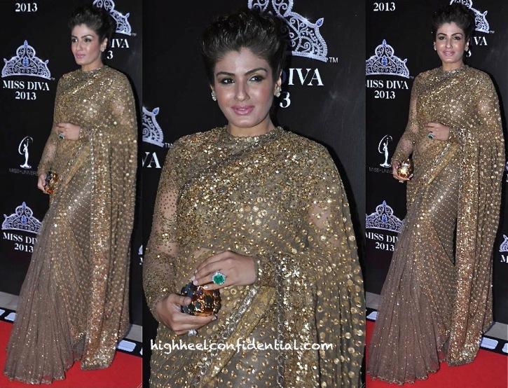raveena tandon in sabyasachi at miss diva 2013-1