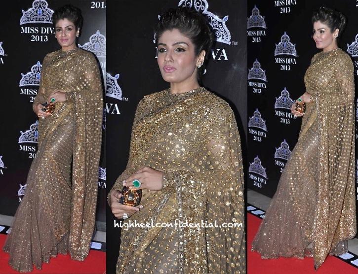 raveena tandon in sabyasachi at miss diva 2013-2