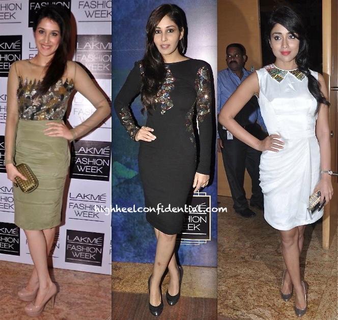 shriya saran-pooja chopra-sagarika ghatge-rajat tangri-lakme fashion week winter festive 2013-1