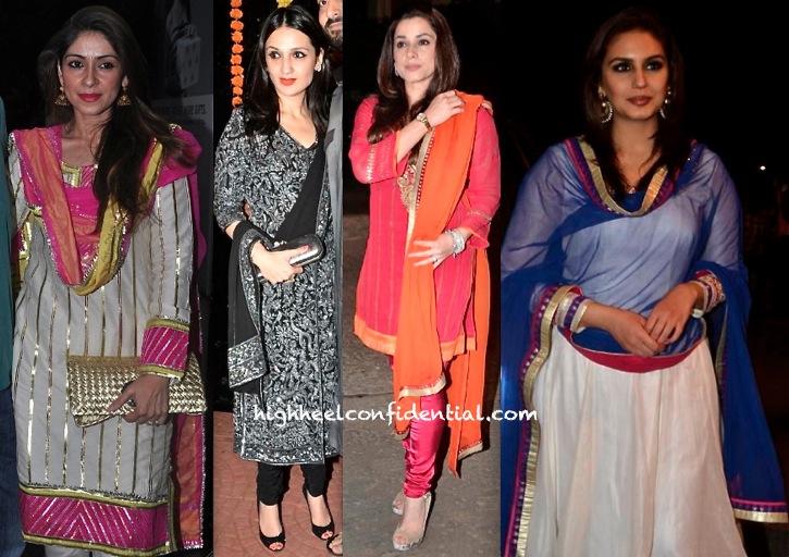 Bhavna Pandey, Anu Dewan, Neelam Kothari And Huma Qureshi At Ekta Kapoor's Diwali Bash-2