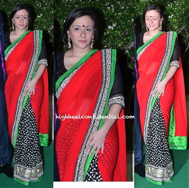 Avantika Malik In Sabyasachi At Vishesh Bhatt And Kanika Parab's Wedding Reception