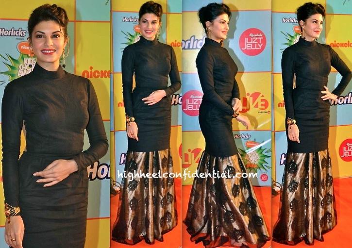 Jacqueline Fernandez In Nikhil Thampi And Manish Arora For Amrapali Jewelry At Nickelodeon India Awards 2013
