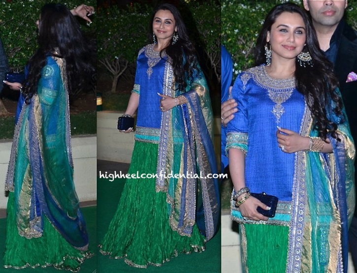 Rani Mukherjee In Anuradha Vakil At Vishesh Bhatt And Kanika Parab's Wedding Reception-1
