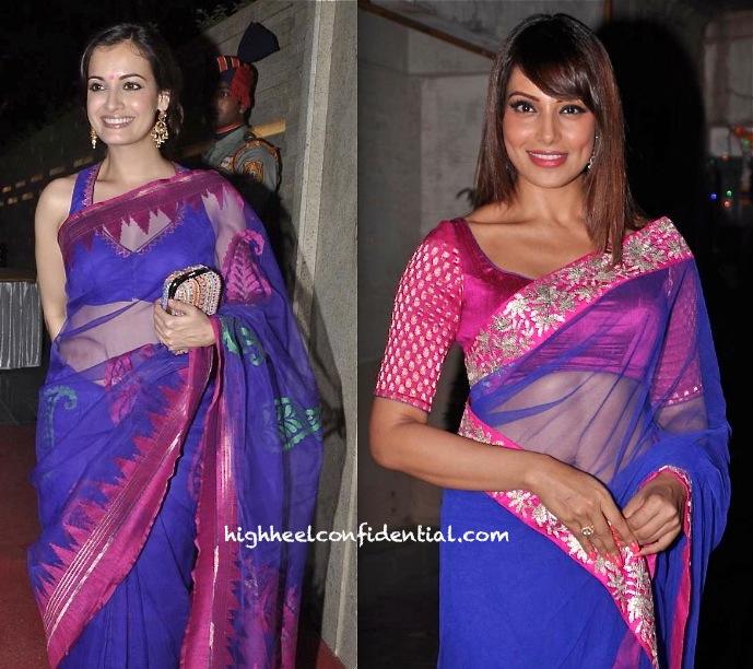 bipasha basu and dia mirza at diwali 2013 party-1