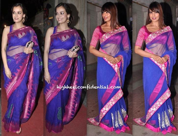 bipasha basu and dia mirza at diwali 2013 party