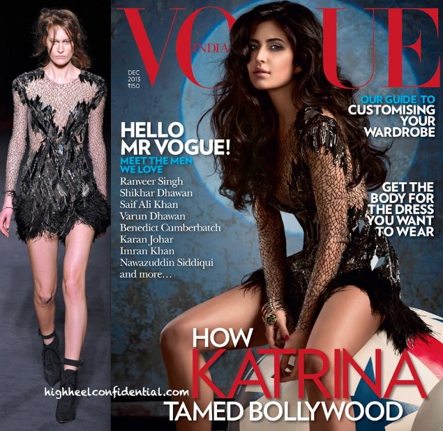 Katrina Kaif On Vogue Dec '13 Cover In Julien MacDonald
