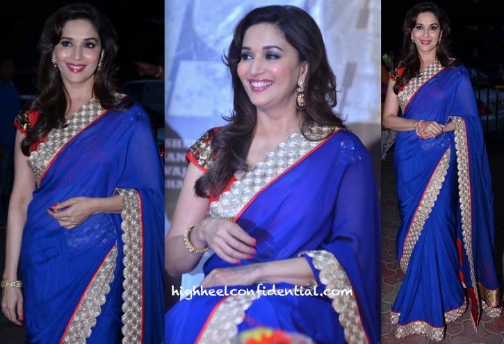 Madhuri Dixit In Jade By Monica And Karishma At 'Dedh Ishqiya' Music Launch-1