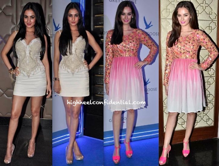 Sonal Chauhan (In SS Surya) And Evelyn Sharma (In Sourabh Kant Shrivastava) At Grey Goose Style Du Jour Event