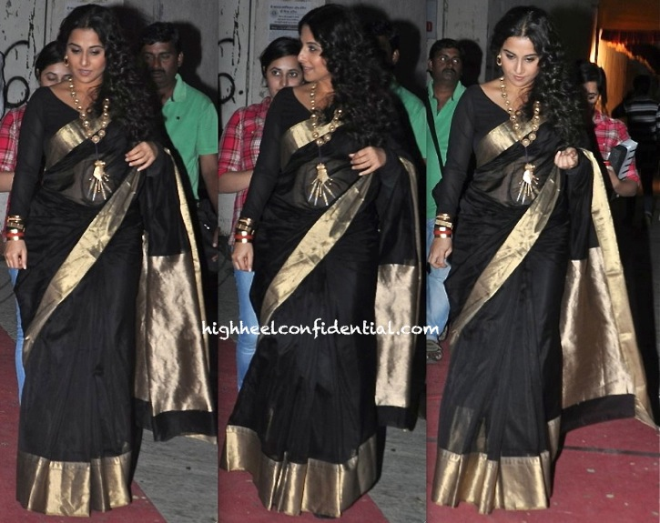 Vidya Balan On 'Koffee With Karan' Sets in black sari and suhani pittie jewellery-1