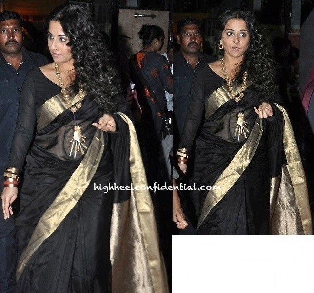 Vidya Balan On 'Koffee With Karan' Sets in black sari and suhani pittie jewellery-2