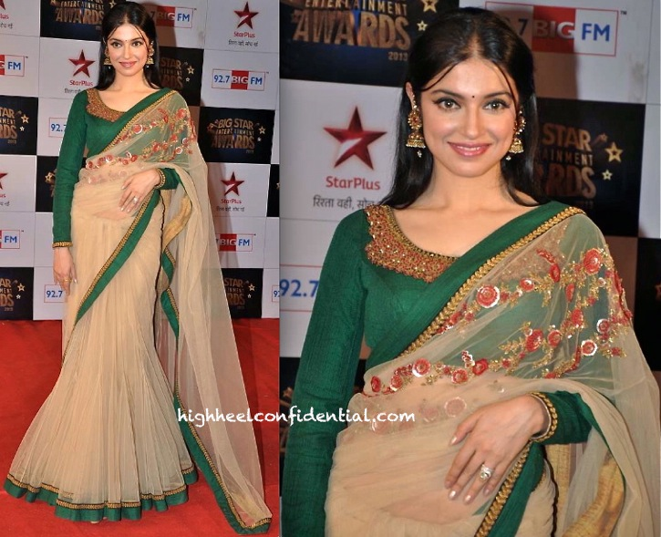 divya khosla kumar in sabyasachi at big star entertainment awards 2013