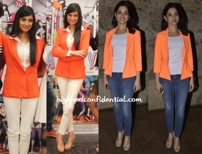 divya-khosla-kumar-tamannah-orange-blazers