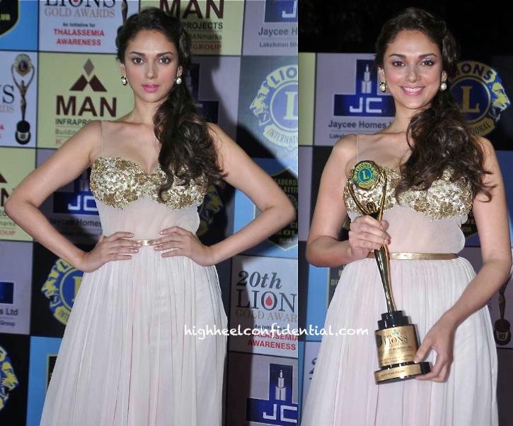 Aditi Rao Hydari (@aditiraohydari) In Rabani And Rakha At Lions Gold Awards 2014-2