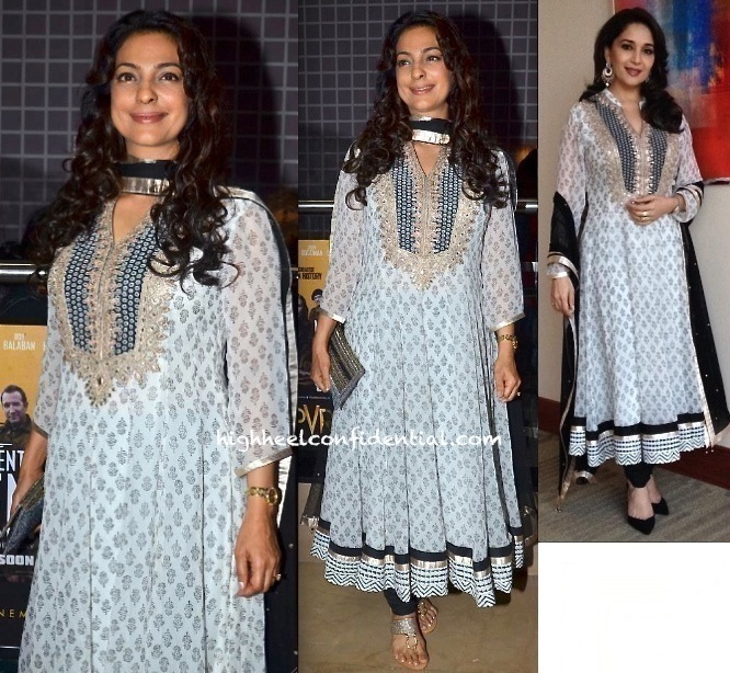 Juhi Chawla At A Film Screening And Madhuri Dixit At A Press Meet Have A Ditto Moment In Anita Dongre