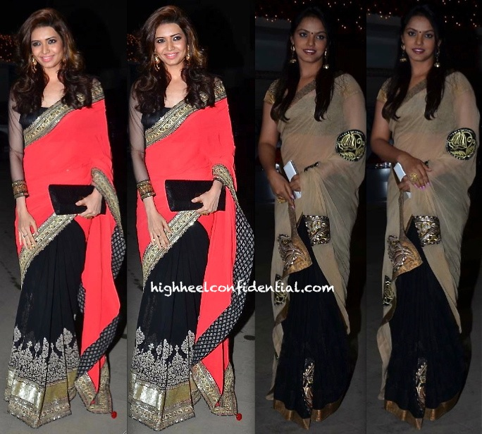 Karishma Tanna (In Sabyasachi) And Neetu Chandra At Raghav Sachar- Amita Pathak Wedding-1