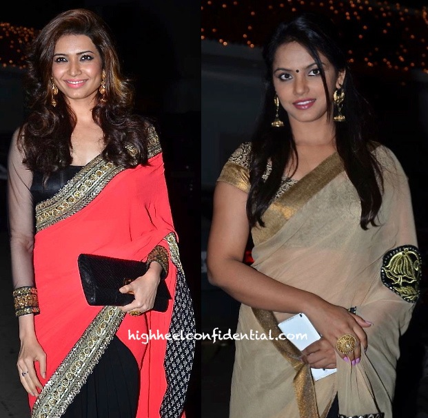 Karishma Tanna (In Sabyasachi) And Neetu Chandra At Raghav Sachar- Amita Pathak Wedding-2