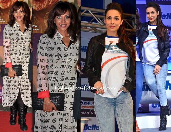 Manasi Scott (In Masaba) At Dedh Ishqiya Premiere And Malaika Arora Khan At An Event For Gillette
