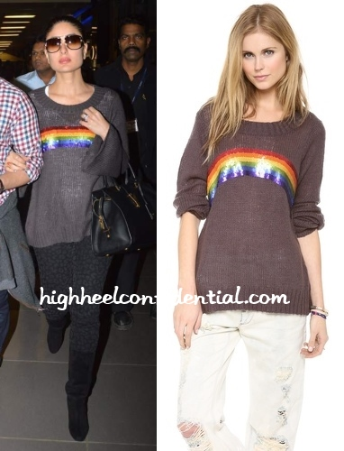 kareena-kapoor-wildfox-rainbow-sweater-airport
