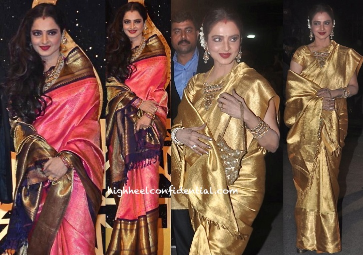 rekha at filmfare awards 2014 and at screen awards 2014