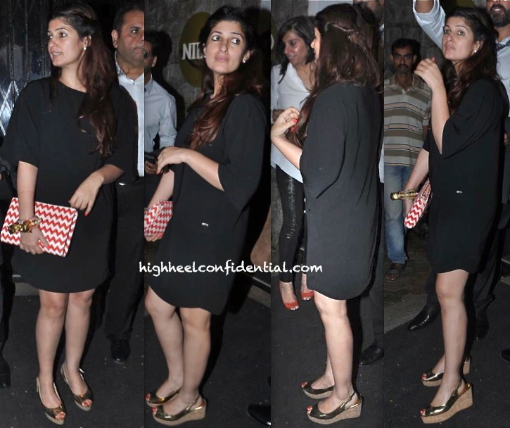 twinkle khanna photographed outside nido