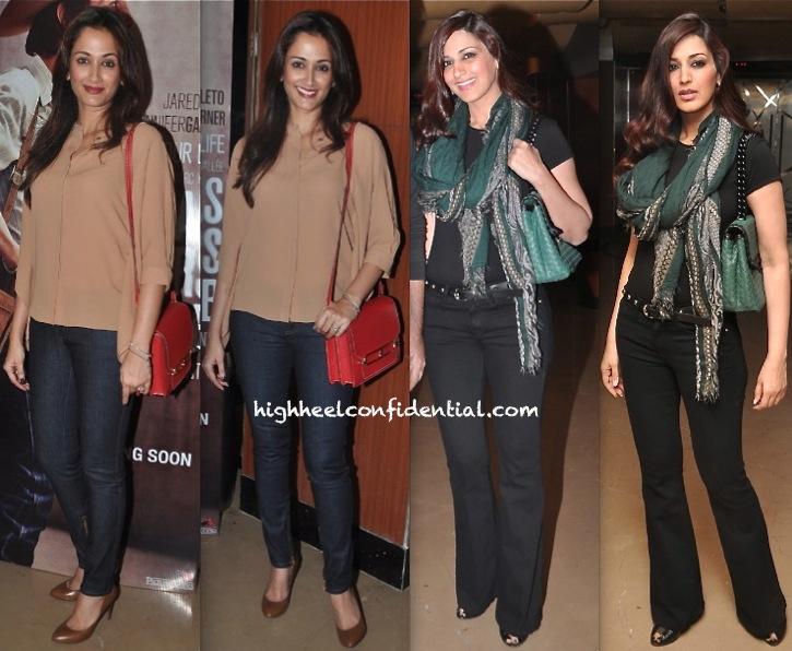 Sonali Bendre And Gayatri Oberoi At 'Dallas Buyers Club' Screening