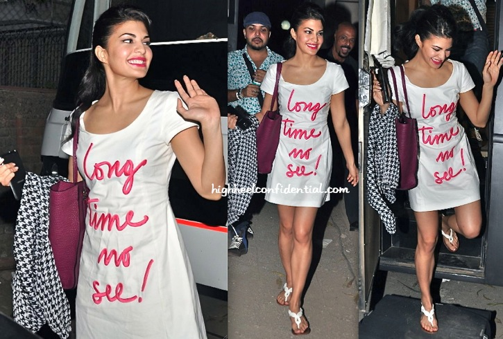 Jacqueline Fernandez Spotted Leaving An Ad Shoot Wearing Moschino Cheap & Chic