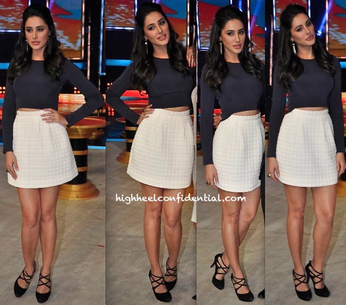 Nargis Fakhri In H&M Separates And Isharya On 'India's Got Talent' Sets